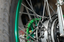 Motorcycle chain sprocket, motorcycle, beautiful color.