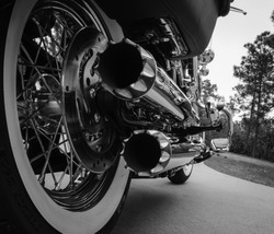 Motorcycle Dual Chrome Exhaust Pipes