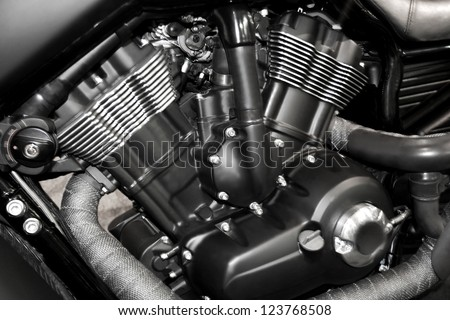 Motorcycle engine close-up detail background