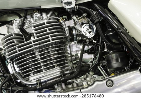 Motorcycle engine close-up detail background #285176480