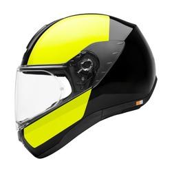 Motorcycle Full Face Helmet Isolated on White Background. Fibreglass Scooter Helmet. Black & Green Touring Motorbike Helmet. Protective Equipment. Modern Headgear