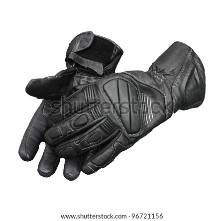 Motorcycle gloves isolated with clipping patch included