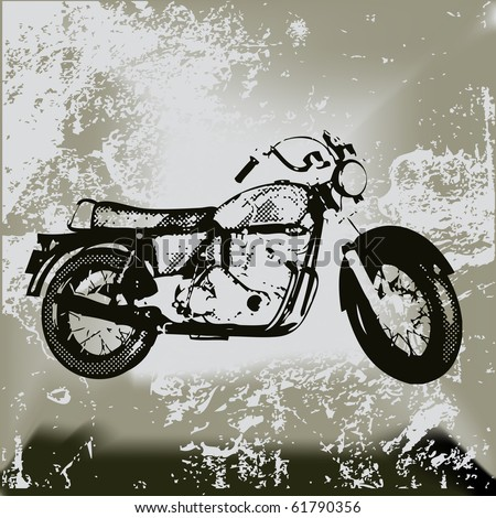 Motorcycle Grunge, Background grunge with an illustration of a generic motorbike.