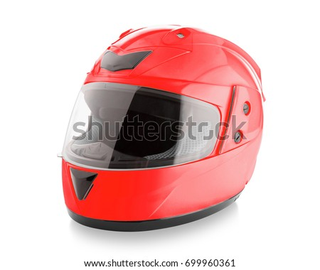 Motorcycle helmet over isolate on white background with clipping path - Shutterstock ID 699960361