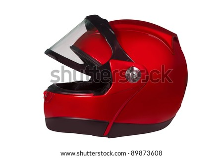 Motorcycle helmet with a raised glass isolated on white with clipping path