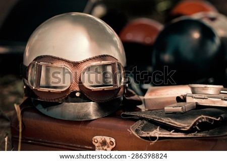 motorcycle helmet with goggles...