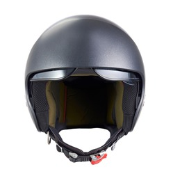 motorcycle helmet with raised visor, front view, isolated on white background