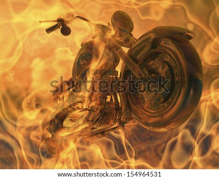 motorcycle in flames