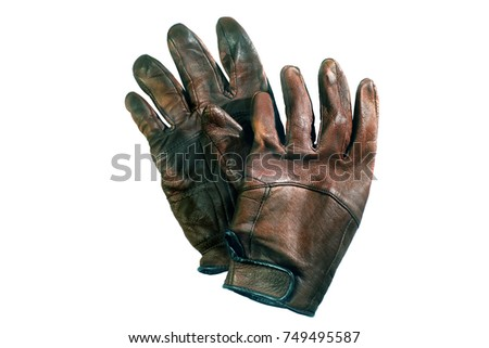 Motorcycle leather gloves with vintage colors on white background. Biker outfit.
