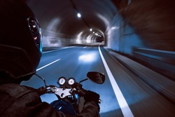 Motorcycle Night Tunnel blur speed