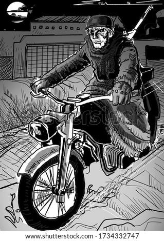 motorcycle rider illustration in a dystopia warzone Zdjęcia stock ©