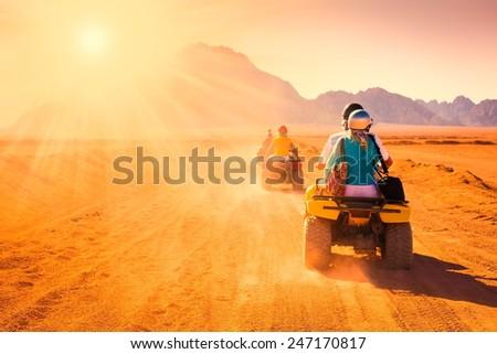 motorcycle safari egypt people travel beautiful  holiday background, extreme hobby games  speed achievement, sinai sharm desert amazing  fresh  quest   Stock photo ©