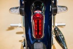 Motorcycle tail brake light. Red tail brake light.