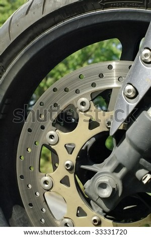 motorcycle tire and brake disc