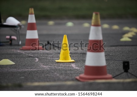 Photo of  Motorcycle training school Motorcycle education school training Gymkhana. Road cone