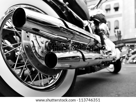 motorcycle with double exhaust