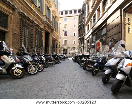 Motorcycles in streets of Rome