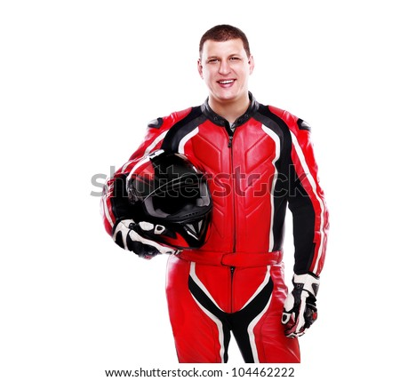 Motorcyclist biker in red equipment holding helmet on white background