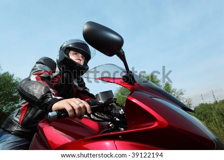 motorcyclist, bottom view