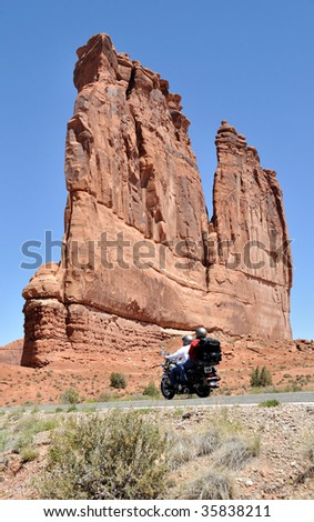 Motorcyclist in Arches National Park