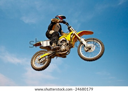 motorcyclist isolated on background blue sky