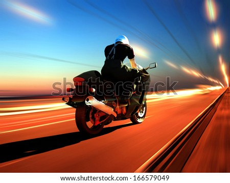 Motorcyclist on the highway.