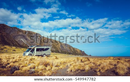 Motorhome at Cape Palliser on the North Island of New Zealand.