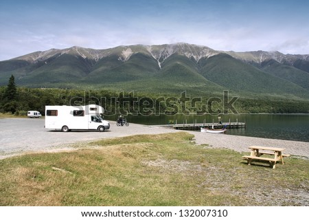 Motorhome in Nelson Lakes National Park, New Zealand. Recreational vehicle.