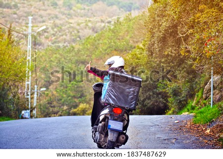 motorized courier okey sign and depth of field Rumeli Kavağı,  Stok fotoğraf ©
