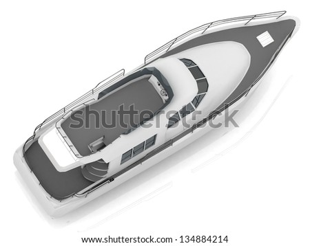 Motorized pleasure boat located diagonally from the top view
