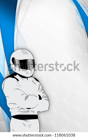 Motorsport driver poster color background with space