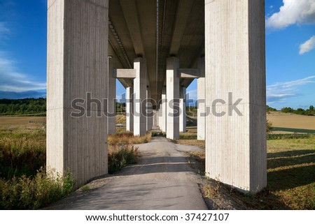 motorway bridge landscape, concrete girder piers for superhighway