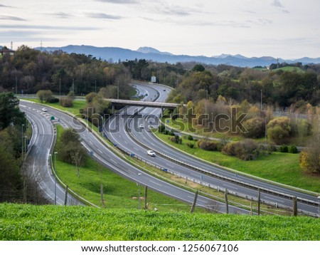 Motorway junction of the GI-11 and GI-20 motorways, access road to San Sebastian, Basque Country, Spain