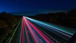 Motorway light trails with at dusk