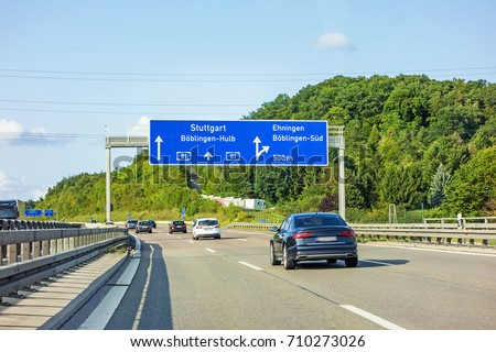 motorway road sign on (Autobahn 81 / A 81 / E 531) freeway interchange Boblingen-Hulb - exit Ehningen