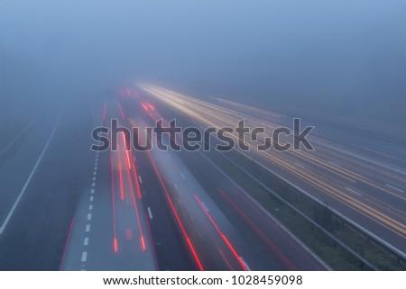 Motorway with Fog #1028459098