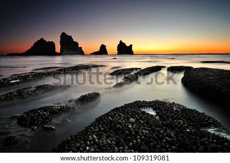 Motukikie Rocks, West Coast, New Zealand at Dusk