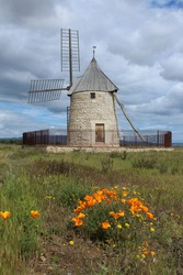 Moulin de Claira, a fully restored windmill in Claira, Pyrenees-Orientales Department, southern France