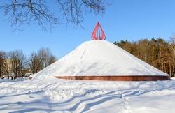 Mound of Glory in winter. Gomel. Belarus. Memorial complex