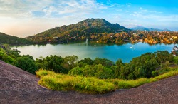 Mount Abu and Nakki lake aerial panoramic view. Mount Abu is a hill station in Rajasthan state, India.