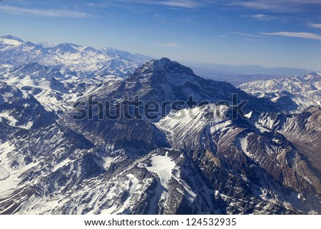 Mount Aconcagua in Mendoza, Andes Mountain Range, border between Argentina and Chile. Argentina (highest pick in America continent). Aerial photo.