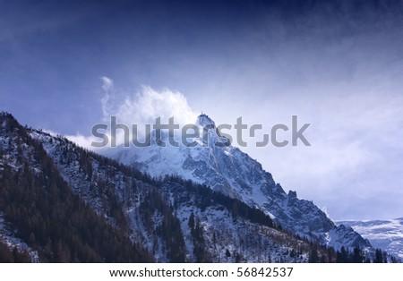 Mount Aguille du Midi at 3842 meters altitute. Mont Blanc massif, Alps. Chamonix, France.