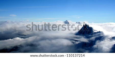 Mount Aiguille Du Midi, French Alps, France. This picture was taken from the Mont Blanc.