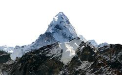 Mount Ama Dablam isolated on white, Khombu valley, Sagarmatha national park, Nepal Himalaya mountain