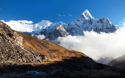 Mount Ama Dablam, way to Mt Everest base camp, Khumbu valley, Sagarmatha national park, Everest area, Nepal Himalaya mountain