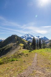 Mount Baker comes into view along Skyline Divide hiking trail