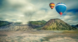 Mount Bromo, Java, Indonesia with hot air travel balloon