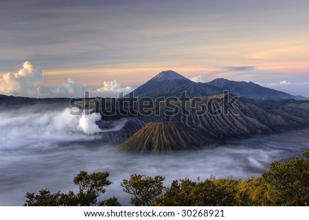 Mount Bromo volcano at sunrise