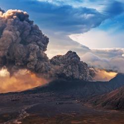Mount Bromo volcano or Gunung Bromo during eruption in Bromo Tengger Semeru National Park, East Java, Indonesia.