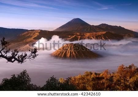Mount Bromo volcanoes taken in Tengger Caldera, East Java, Indonesia.